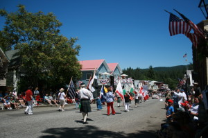 The Gold Country Celtic Society march into the sunset in Nevada City.  Well, since the sun isn't setting, use your imagination.