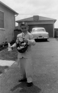 Easter in the Late '50's Dapper Dude with an Easter Bunny.   See, I told you it was baby fat.