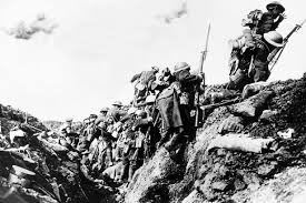 Over the top of the trenches and into the machine guns.  Frontal assault into sure death was the norm.