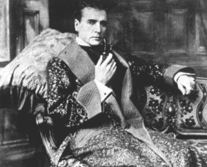 Holmes with a bent pipe and dressing gown