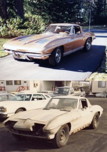 A before and after of my home run: a '63 fuel-injected Corvette