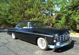 1956 was the second year for the 300 series Chrysler, with the first one named the C-300 because of its 300 HP engine and not to be confused with the 1957 Chrysler 300C. This color is Raven Black, with Regimental Red and Cloud White the only other colors offered in 1956, with interiors only in tan leather. Only 1,102 were sold.
